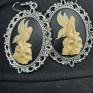 Angel skull earrings